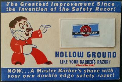 Vintage 1950's Pal Hollow Ground Sample Razor Blade on Card Old Warehouse Stock
