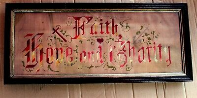 Beautiful Antique Framed In Glass Victorian FAITH HOPE & CHARITY Sampler
