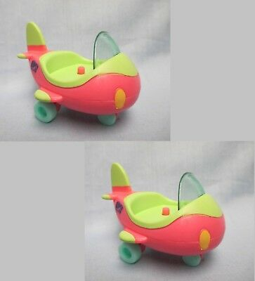 Littlest Pet Shop Lot 2 Pink Green Airplane for Dog 1847 Rare Set Accessory
