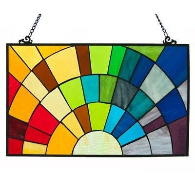 """PAIR Stained Glass Rainbow Window Panels Handcrafted Tiffany Style 20"""" x 12"""""""
