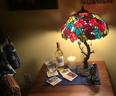 """New Tiffany Style 27"""" Table Lamp Stained Glass Bowl Shade Iron Fixture"""