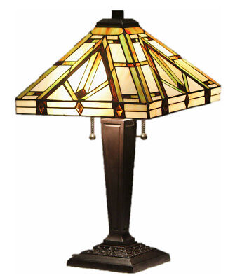 """Tiffany Style Stained Glass Mission Lamp """"Golden Mission"""""""