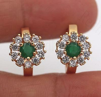 18K Gold Filled Earrings Emerald Zircon Clear Topaz Round Flower Ear Hoop Lover