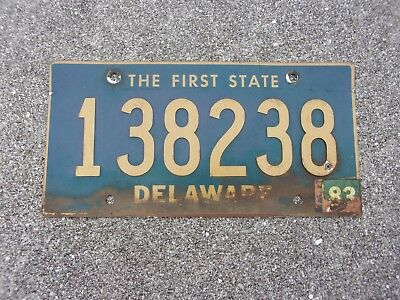 Delaware 1983 riveted numbers License Plate  #  138238