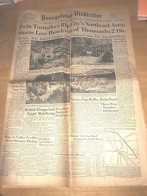 Youngstown Vindicator August 6, 1956 Twin Tornadoes Antique Vintage Newspaper