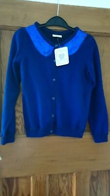 Girls Navy Blue Sparkle Cardigan Sequin Faux Peter Pan Collar Detail Age 10 BNWT