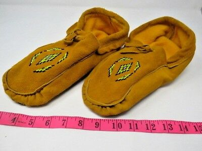 Native American Moccasins Beaded, 10.5 Inch, Double Sole, Cuff Flaw