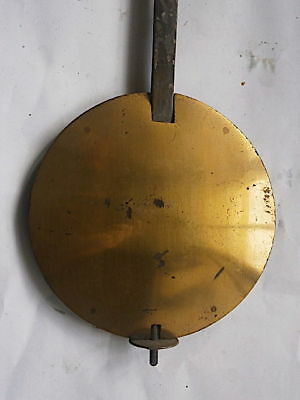 C1780 GOOD LONGCASE GRANDFATHER CLOCK PENDULUM  brass    faced bob + SLIDE ROD E