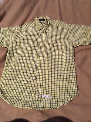 Ted Baker Boys Yellow Blue Check Short Sleeve Shirt Size 5-6 Years Great Conditi