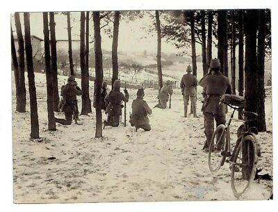 WWI PRESS PHOTO- Austrian Alpine troops hunting the enemy - bicycle
