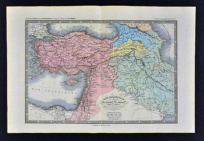 1860 Ansart Map Roman Wars in Asia Minor Middle East Persia Iran Syria Palestine