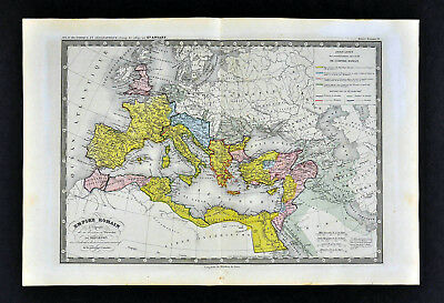 1860 Ansart Map  Roman Empire Diocletian Era Italy Greece Spain Africa Palestine