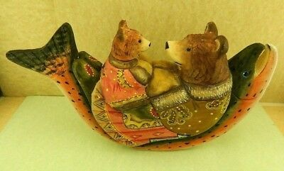 New Russian Carved Handpainted Brown Mama Bear And Baby Bear On Fish