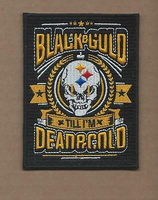 """New 3 X 4"""" Pittsburgh Steelers Black & Gold Till I'm Dead & Gold Iron On Patch"""