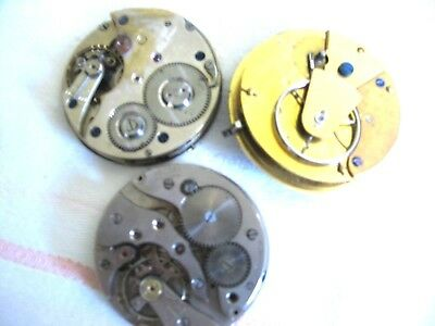 3 Old Pocket Watch Escapements. ( 1 with enamel dial).