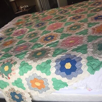 Antique Grandma's Flower Garden Feedsack  All Hand Sewn Vintage Quilt Top 92x62