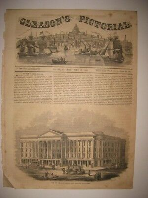 Vintage Antique Dated 1853 St Charles Hotel New Orleans Louisiana Print Superb