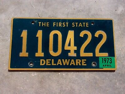Delaware 1973 Riveted Numbers license plate #  110422