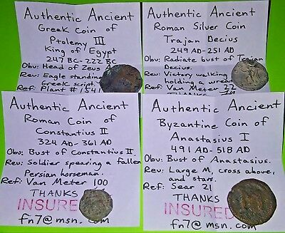 247BC Collection of ancient Greek Roman & Byzantine Coins silver Ptolemy old lot