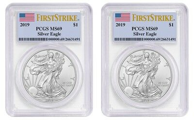 2019 1oz Silver Eagle PCGS MS69 First Strike Label - 2 Pack