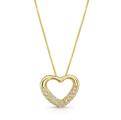 0.20 CT 14k Yellow Gold Natural Round Diamond Pave Open Heart Pendant Necklace
