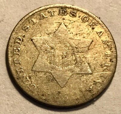 USA - Three Cent Silver - 1852 - Damaged Hole Filler - FREE SHIPPING!