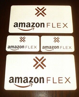 "4 AMAZON FLEX  REFLECTIVE Magnetic CAR VEHICLE SIGNS  2 -6"" x 12""  &  2 -3"" x 6"""
