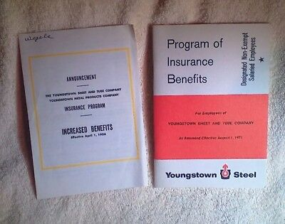 Vintage Youngstown Sheet And Tube Steelworkers 1956 & 1871 Insurance Plans Book