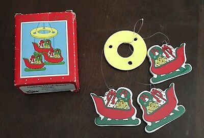 "Vintage Christmas Sleigh Windchime 5 1/2"" Ornament Decoration Russ Berrie NEW"