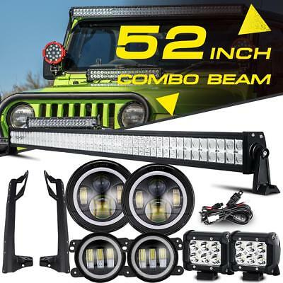 "52"" Led Light Bar + 4"" 18W + Mount + Headlights + Fog Light For Jeep Wrangler JK"