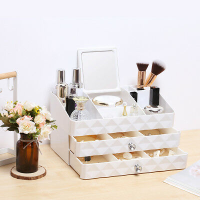 Rackaphile 3 Tier Makeup Organizer Mirrored Jewelry Cosmetic Storage 2 Drawers