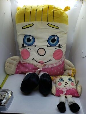 PAIR OF Vintage 1985 Pillow People Big Pillow Pink and Small Pillow Retro NEAT!
