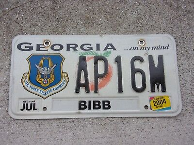 Georgia 2004 Air Force Reserve Command License Plate  # AP16M