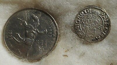 Hungary 1520 Silver Denar Jesus and Mary on front. King II. Lajos
