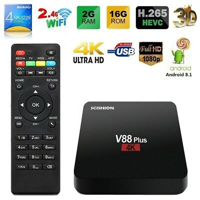 SCISHION V88 Plus 4K Android 8.1 TV BOX RK3229 Quad Core 2GB+16GB WiFi USB Media