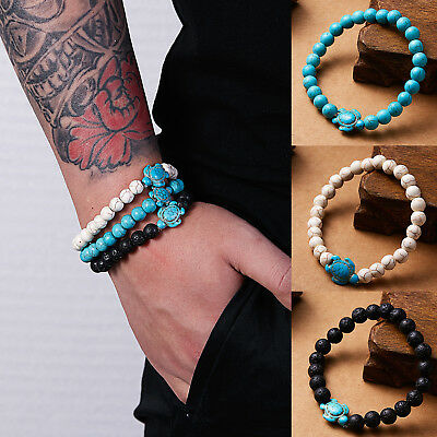 Men Women Natural Stone Turquoise Beaded Turtle Charm Bracelet Lucky Gifts
