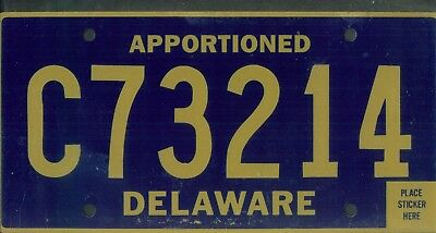 """DELAWARE license plate """"C73214"""" ***APPORTIONED***MINT***"""