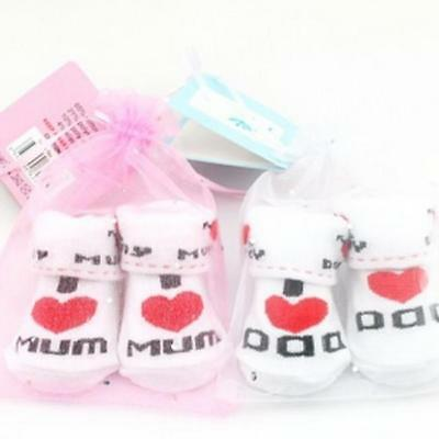 Infant Socks Baby Boy Girl Newborn I Love Mum Dad Shoes Cotton 0-6 Months LC