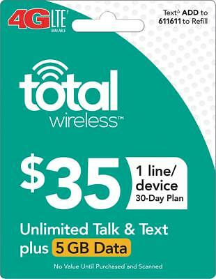 TOTAL WIRELESS Prepaid $35 Refill Top-Up Prepaid Card ,PIN / RECHARGE