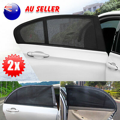 2x Car Rear Window Shade Black UV Sunshine Blocker Cover Mesh Kids Protection