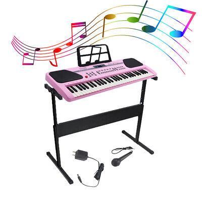 61 Key Music Electronic Keyboard Electric Digital Piano Organ w/Stand Pink