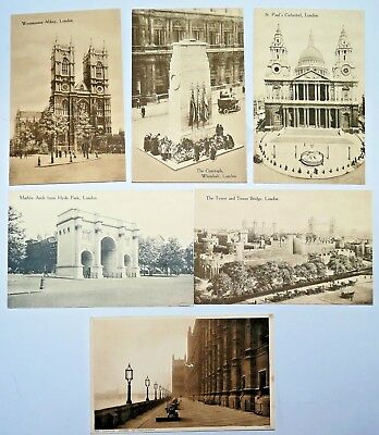 6 AK sepia LONDON 20er - Westminster Abbey - Contaph Whitehall - Marble Arch 2