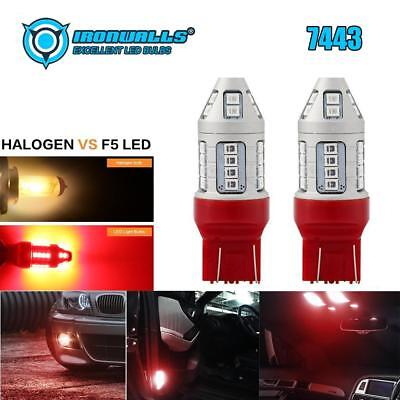 IRONWALLS 2X 7443 LED Strobe Flashing Blinking Brake Tail Light Or Parking Bulbs