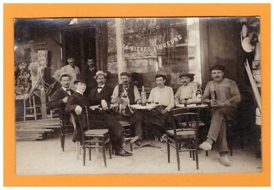 "Devanture Commerce DEBIT de BOISSON ""CAFE"" animé / Carte-photo postale début1900"