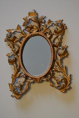 Vintage 11 x8 Ornate Heavy Cast Metal 4 x 6 Victorian Wall Mirror-Picture Frame