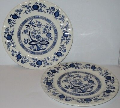 Crown Clarence 2 X Blue Onion 12 Inch Charger / Serving / Dinner Plates