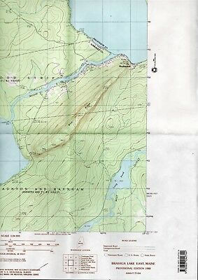 Map Dept Interior Geological Survey USGS 1988 BRASSUA LAKE EAST Maine Quadrangle
