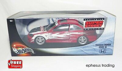 2000 Hot Wheels 100% Super Street HONDA Civic Si Coupe 1.6l Red 27807 1/18 MINT!