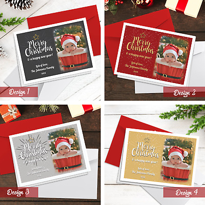 Christmas Cards | Pack Of A5 Folded Cards | Personalised With Photo + Envelopes