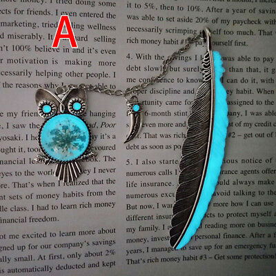 1X Luminous Night Owl Bookmark Label Read Maker Feather Book Mark Stationery A<#